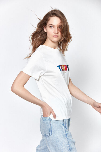 T-shirt Inscription Poitrine Colorée Femme - Dizia