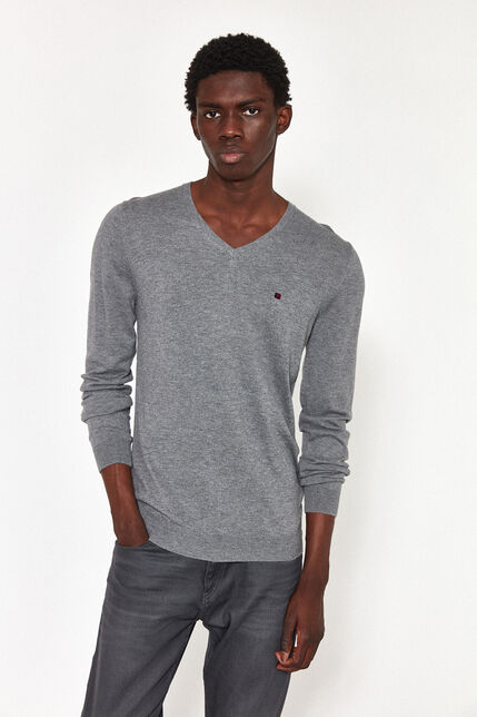 Pull Col V Maille Fine Homme - Piko Recycled
